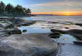 A sunset on the shoreline of Gabriola Island, in British Columbia, Canada.