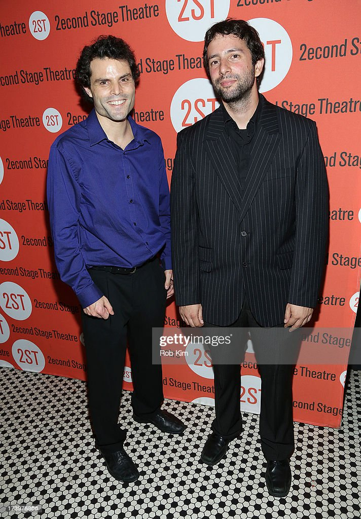 Gaby Alter (L) and Itamar Moses attend 'Nobody Loves You' Opening Night After Party at HB Burger on July 18, 2013 in New York City.
