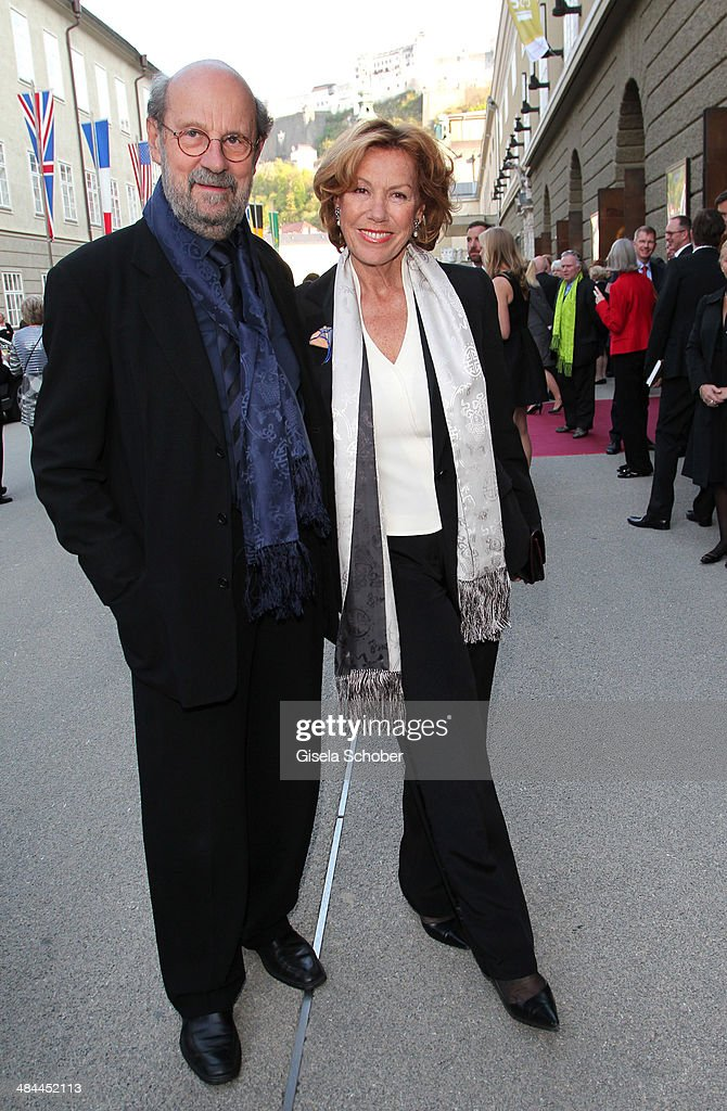 Gaby Dohm and her boyfriend Peter Deutsch attend the opening of the easter festival 2014 (Osterfestspiele) on April 12, 2014 in Salzburg, Austria.