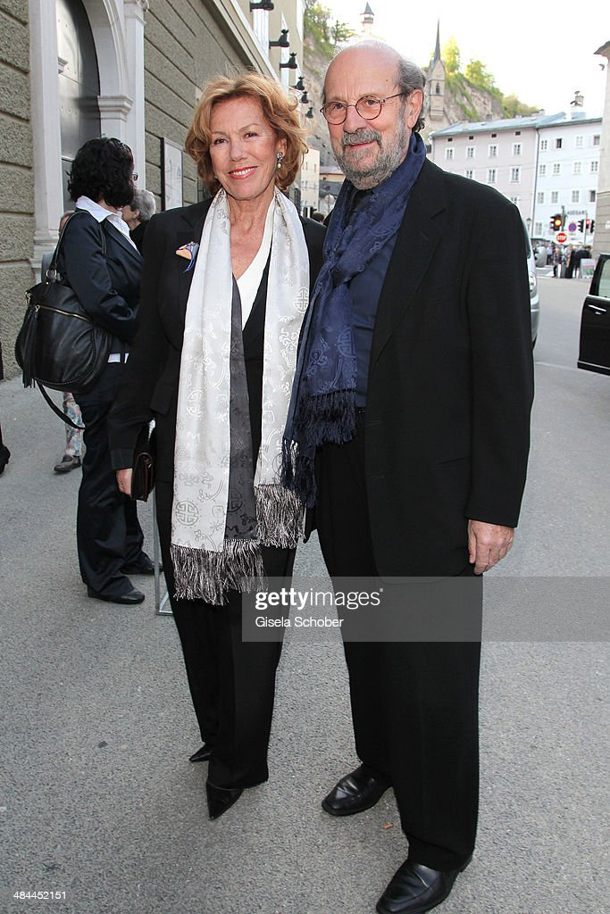 <a gi-track='captionPersonalityLinkClicked' href=/galleries/search?phrase=Gaby+Dohm&family=editorial&specificpeople=2601953 ng-click='$event.stopPropagation()'>Gaby Dohm</a> and her boyfriend Peter Deutsch attend the opening of the easter festival 2014 (Osterfestspiele) on April 12, 2014 in Salzburg, Austria.