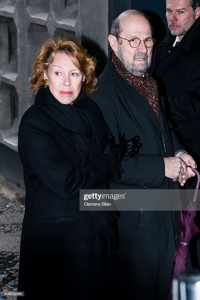 <a gi-track='captionPersonalityLinkClicked' href=/galleries/search?phrase=Gaby+Dohm&family=editorial&specificpeople=2601953 ng-click='$event.stopPropagation()'>Gaby Dohm</a> and Peter Deutsch attends the Wolfgang Rademann memorial service on February 11, 2016 in Berlin, Germany.