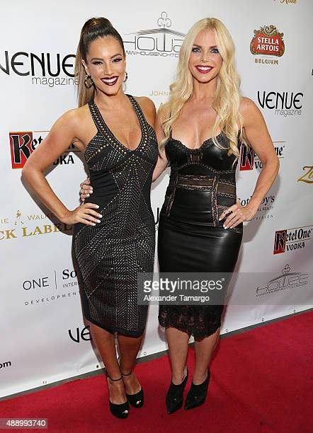Gaby Espino and Alexia Echevarria arrive at the Venue Magazine 9 year anniversary party at House Nightclub on September 18 2015 in Miami Florida