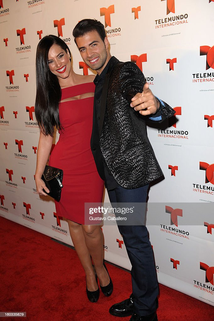 Gaby Espino and JenCarlos Canela attend Telemundo International NATPE VIP Party at Bamboo Miami on January 28, 2013 in Miami, Florida.