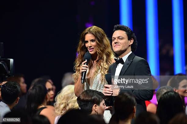 Gaby Espino and Pedro Fernandez onstage at the 2015 Billboard Latin Music Awards presented by State Farm on Telemundo at Bank United Center on April...