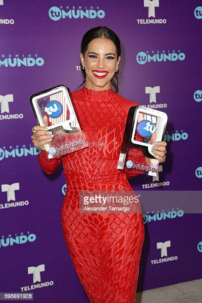 Gaby Espino arrives at Telemundo's Premios Tu Mundo 'Your World' Awards at American Airlines Arena on August 25 2016 in Miami Florida