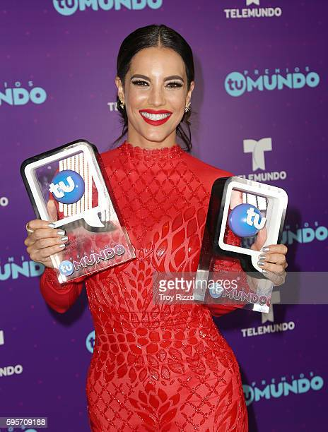 Gaby Espino poses backstage at Telemundo's Premios Tu Mundo 'Your World' Awards at American Airlines Arena on August 25 2016 in Miami Florida