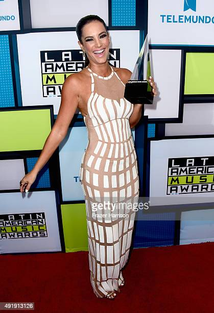 Gaby Espino poses in the press room during Telemundo's Latin American Music Awards at the Dolby Theatre on October 8 2015 in Hollywood California