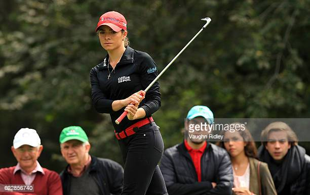 Gaby Lopez of Mexico chips onto the 2nd green during the third round of the Citibanamex Lorena Ochoa Invitational Presented By Aeromexico and Delta...