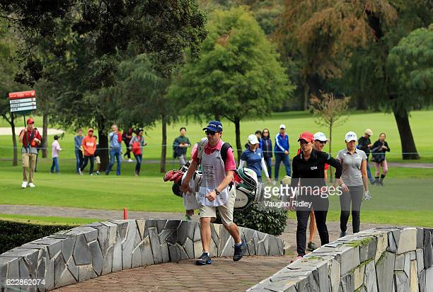 Gaby Lopez of Mexico crosses a bridge as she walks toward the 5th green during the third round of the Citibanamex Lorena Ochoa Invitational Presented...