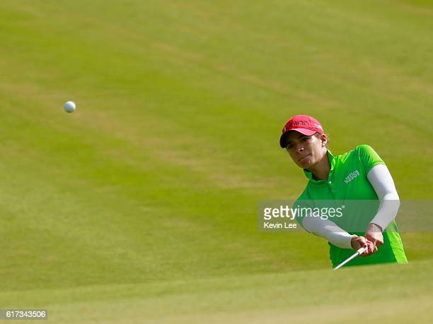 Gaby Lopez of Mexico hit a shot on the 18th green during the final round of the Blue Bay LPGA on Day 4 on October 23 2016 in Hainan Island China