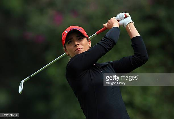 Gaby Lopez of Mexico hits her 1st shot on the 3rd hole during the third round of the Citibanamex Lorena Ochoa Invitational Presented By Aeromexico...