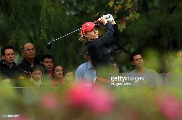 Gaby Lopez of Mexico hits her 1st shot on the 4th hole during the third round of the Citibanamex Lorena Ochoa Invitational Presented By Aeromexico...