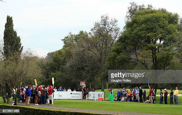 Gaby Lopez of Mexico hits her 1st shot on the 5th hole during the third round of the Citibanamex Lorena Ochoa Invitational Presented By Aeromexico...