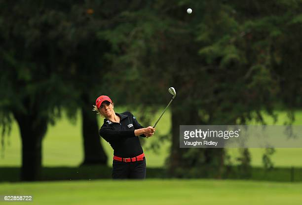 Gaby Lopez of Mexico hits her 2nd shot on the 5th hole during the third round of the Citibanamex Lorena Ochoa Invitational Presented By Aeromexico...