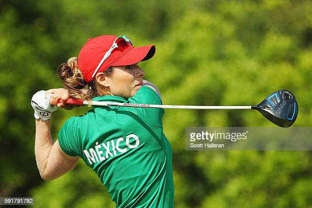 Gaby Lopez of Mexico hits her tee shot on the fifth hole during the second round of the Women's Individual Stroke Play golf on Day 13 of the Rio 2016...