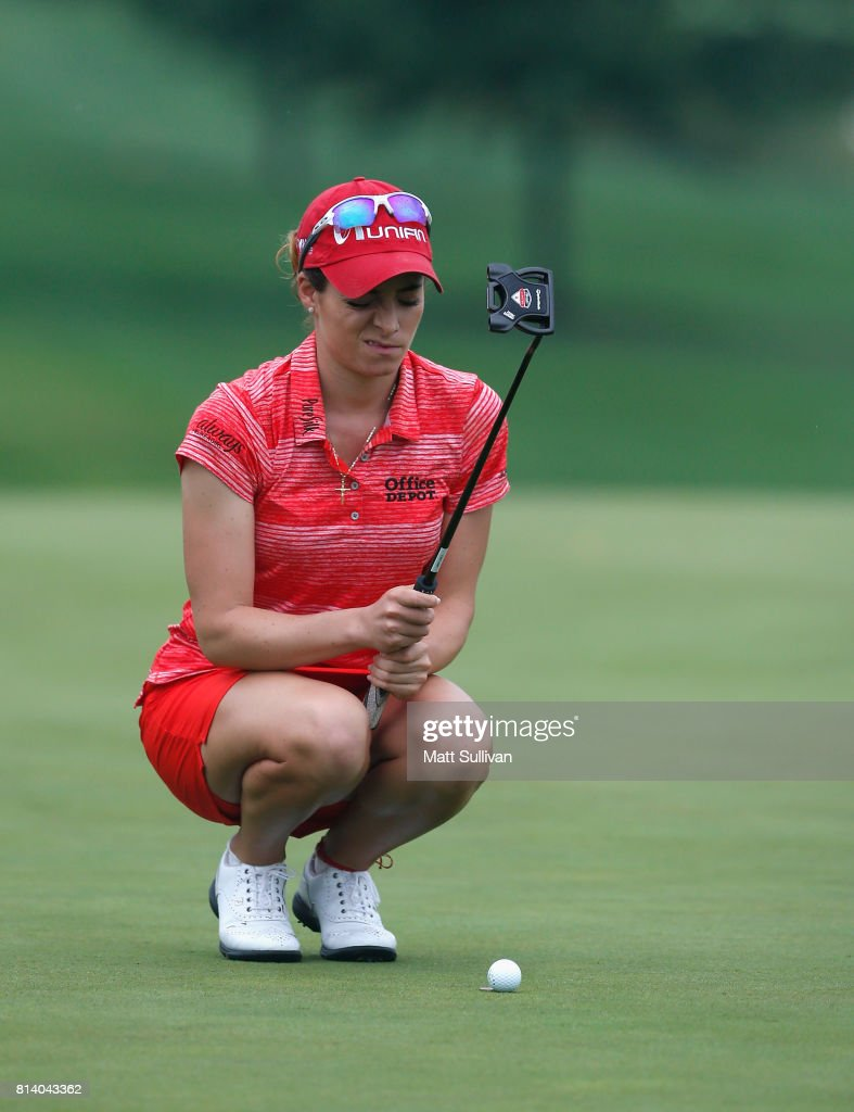 Gaby Lopez of Mexico lines up a putt on the ninth hole during the first round of the U.S. Women's Open Championship at Trump National Golf Course on July 13, 2017 in Bedminster, New Jersey.