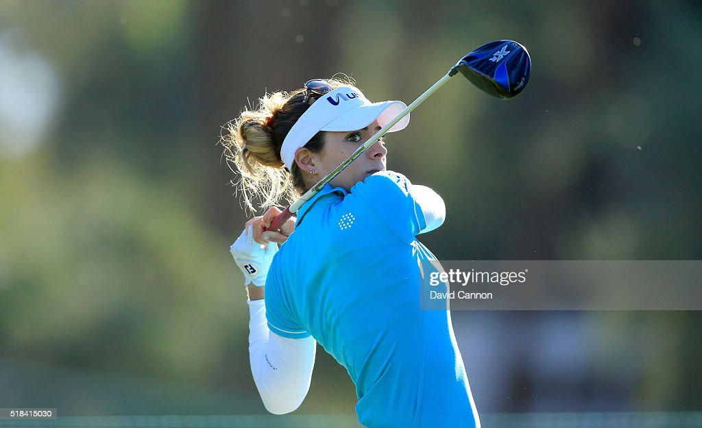Gaby Lopez of Mexico plays her tee shot at the par 4, third hole during the first round of the 2016 ANA Inspiration at Mission Hills Country Club on March 31, 2016 in Rancho Mirage, California.