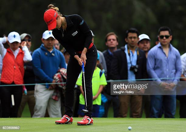 Gaby Lopez of Mexico putts on the 3rd hole during the third round of the Citibanamex Lorena Ochoa Invitational Presented By Aeromexico and Delta at...