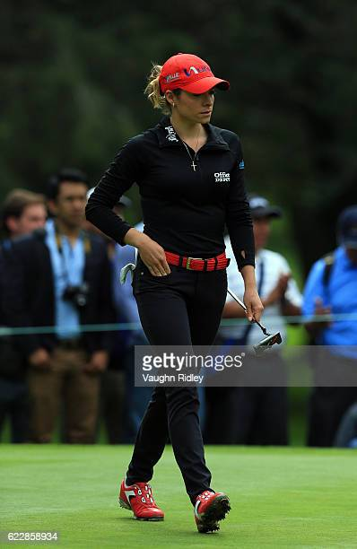Gaby Lopez of Mexico reacts after missing her putt on the 3rd hole during the third round of the Citibanamex Lorena Ochoa Invitational Presented By...