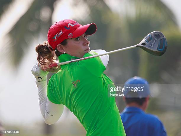 Gaby Lopez of Mexico tee off at 1st green during the final round of Blue Bay LPGA on Day 4 on October 23 2016 in Hainan Island China