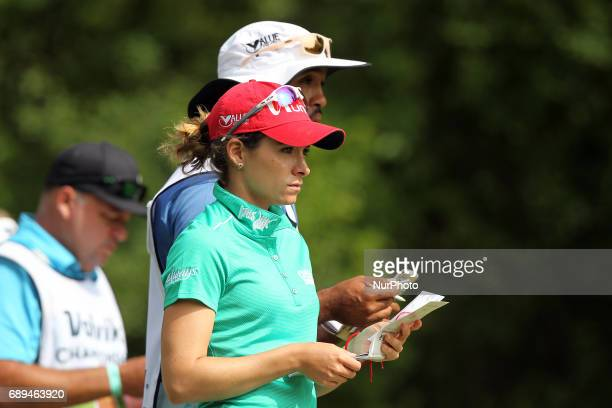 Gaby Lopez of Mexico waits in the 7th tee during the final round of the LPGA Volvik Championship at Travis Pointe Country Club Ann Arbor MI USA...