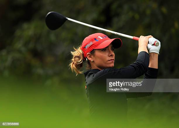 Gaby Lopez of Mexico watches her 1st shot on the 6th hole during the third round of the Citibanamex Lorena Ochoa Invitational Presented By Aeromexico...