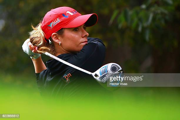 Gaby Lopez of Mexico watches her drive during the Lorena Ochoa Invitational 2016 at Club de Golf on November 12 2016 in Mexico City Mexico