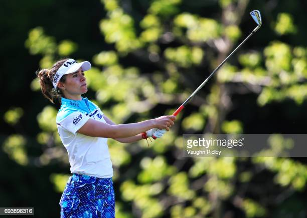 Gaby Lopez of Mexico watches her tee shot on the 17th hole during the first round of the Manulife LPGA Classic at Whistle Bear Golf Club on June 08...