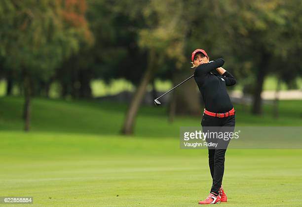Gaby Lopez of Muexico hits her 2nd shot on the 5th hole during the third round of the Citibanamex Lorena Ochoa Invitational Presented By Aeromexico...