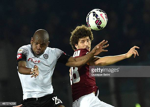 Gaby Mudingayi of AC Cesena and Salih Ucan of AS Roma in action during the Serie A match between AC Cesena and AS Roma at Dino Manuzzi Stadium on...