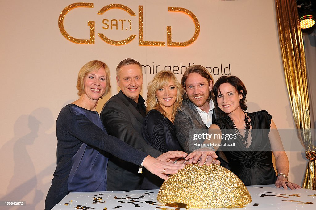 Gaby Papenburg, Juergen Hoerner, Katja Hofem, Marc Rasmus and Petra Glinski start the Sat.1 GOLD TV Channel Launch at the Filmcasino on January 17, 2013 in Munich, Germany.