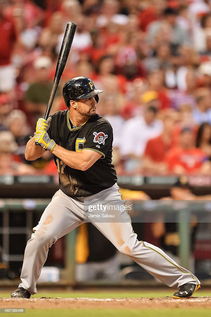 Gaby Sanchez of the Pittsburgh Pirates bats against the Cincinnati Reds at Great American Ball Park on July 11 2014 in Cincinnati Ohio