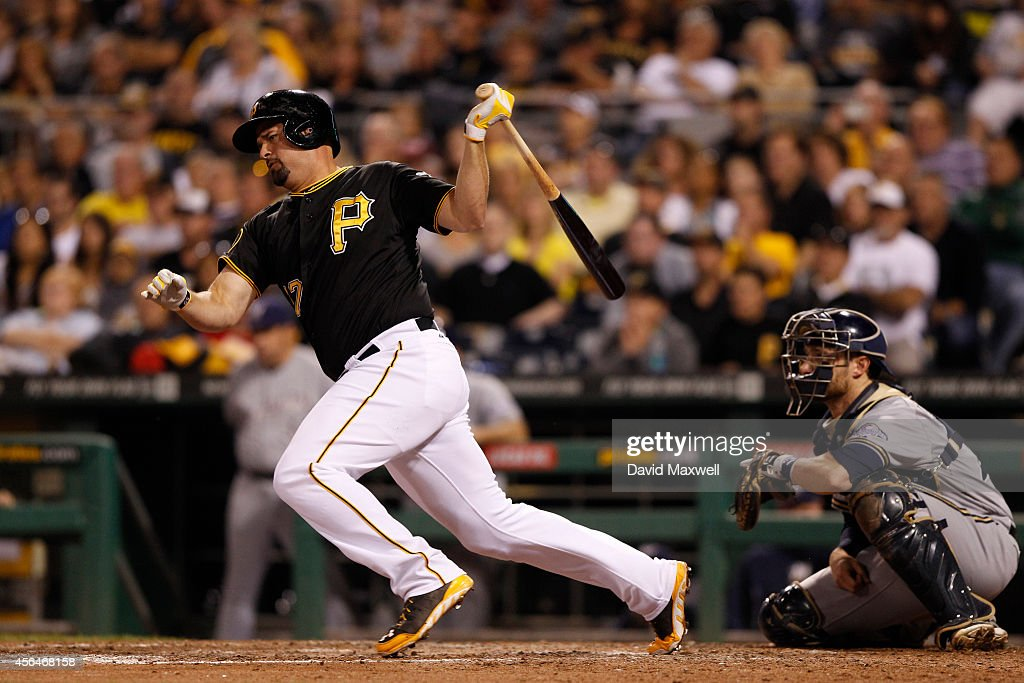 Gaby Sanchez of the Pittsburgh Pirates bats against the Milwaukee Brewers during the eighth inning of their game on September 20 2014 at PNC Park in...