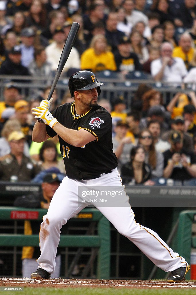 Gaby Sanchez of the Pittsburgh Pirates bats against the Milwaukee Brewers during the game at PNC Park April 18 2014 in Pittsburgh Pennsylvania