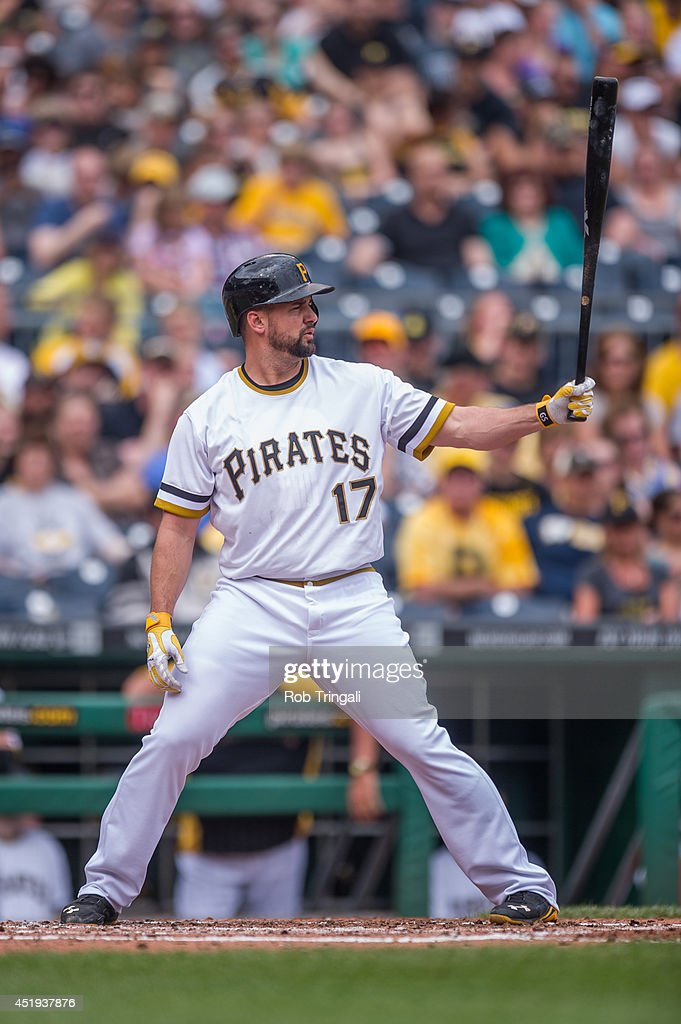 Gaby Sanchez of the Pittsburgh Pirates bats during the game against the Milwaukee Brewers at PNC Park on June 8 2014 in Pittsburgh Pennsylvania