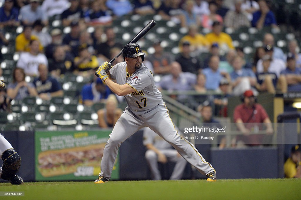 Gaby Sanchez of the Pittsburgh Pirates bats during the ninth inning against the Milwaukee Brewers at Miller Park on August 22 2014 in Milwaukee...