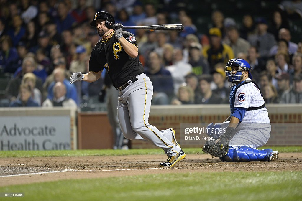 Gaby Sanchez of the Pittsburgh Pirates bats during the second inning against the Chicago Cubs at Wrigley Field on September 24 2013 in Chicago...