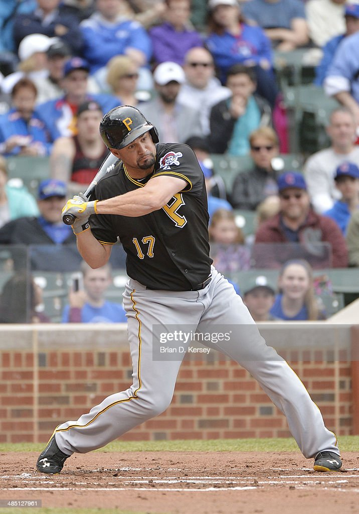 Gaby Sanchez of the Pittsburgh Pirates bats during the second inning against the Chicago Cubs at Wrigley Field on April 10 2014 in Chicago Illinois...
