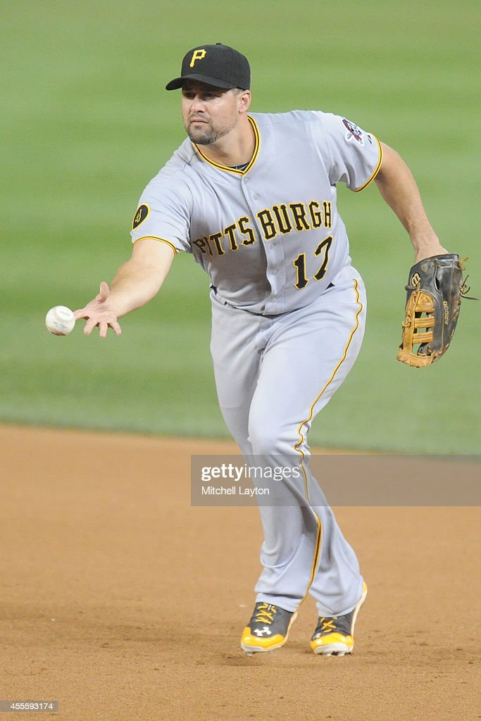 Gaby Sanchez of the Pittsburgh Pirates fields a ground ball during a baseball game against the Washington Nationals on August 15 2014 at Nationals...