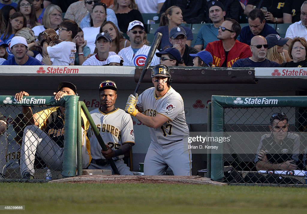 Gaby Sanchez of the Pittsburgh Pirates gets ready to bat during the third inning against the Chicago Cubs at Wrigley Field on September 6 2014 in...