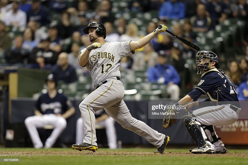 Gaby Sanchez of the Pittsburgh Pirates hits a RBI double in the top of the eighth inning against the Milwaukee Brewers at Miller Park on May 13 2014...