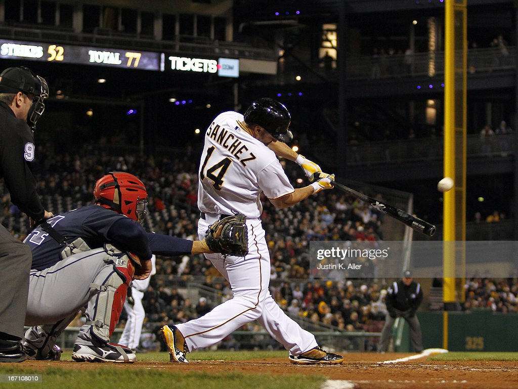 <a gi-track='captionPersonalityLinkClicked' href=/galleries/search?phrase=Gaby+Sanchez&family=editorial&specificpeople=4945789 ng-click='$event.stopPropagation()'>Gaby Sanchez</a> #14 of the Pittsburgh Pirates hits a two-run home run in the sixth inning against the Atlanta Braves during the game on April 20, 2013 at PNC Park in Pittsburgh, Pennsylvania.