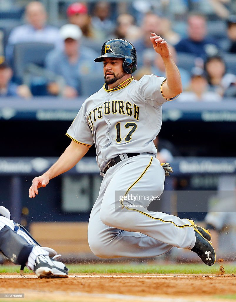 Gaby Sanchez of the Pittsburgh Pirates in action against the New York Yankees at Yankee Stadium on May 17 2014 in the Bronx borough of New York City...