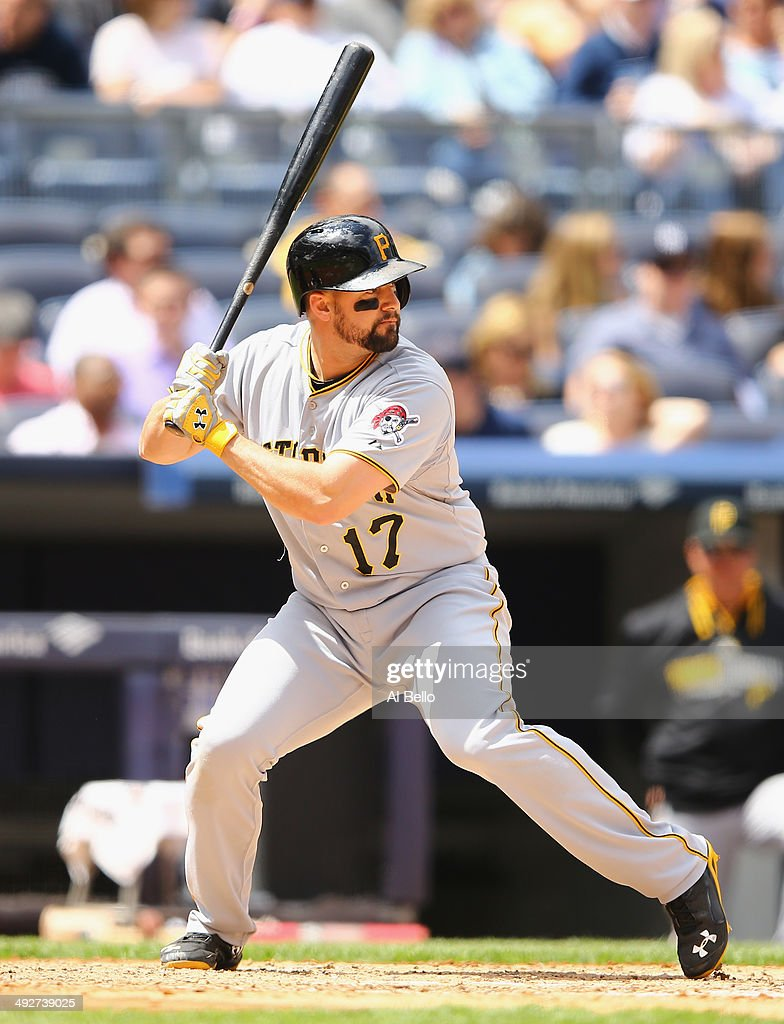 Gaby Sanchez of the Pittsburgh Pirates in action against the New York Yankees during their game at Yankee Stadium on May 18 2014 in the Bronx borough...