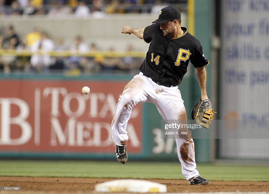 <a gi-track='captionPersonalityLinkClicked' href=/galleries/search?phrase=Gaby+Sanchez&family=editorial&specificpeople=4945789 ng-click='$event.stopPropagation()'>Gaby Sanchez</a> #14 of the Pittsburgh Pirates knocks down a ground ball against the Chicago Cubs during the game on September 7, 2012 at PNC Park in Pittsburgh, Pennsylvania.