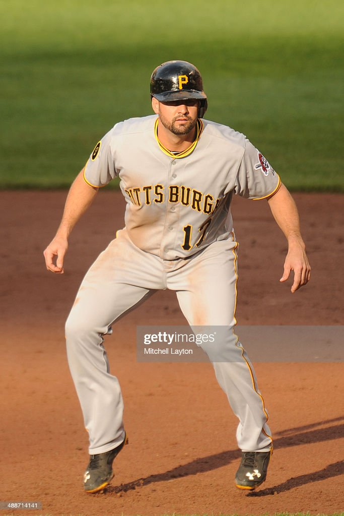 Gaby Sanchez of the Pittsburgh Pirates leads off first base during a baseball game against the Baltimore Orioles in game one of a doubleheader on May...
