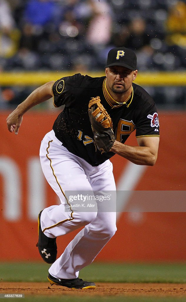 Gaby Sanchez of the Pittsburgh Pirates plays against the St Louis Cardinals during the game at PNC Park April 4 2014 in Pittsburgh Pennsylvania