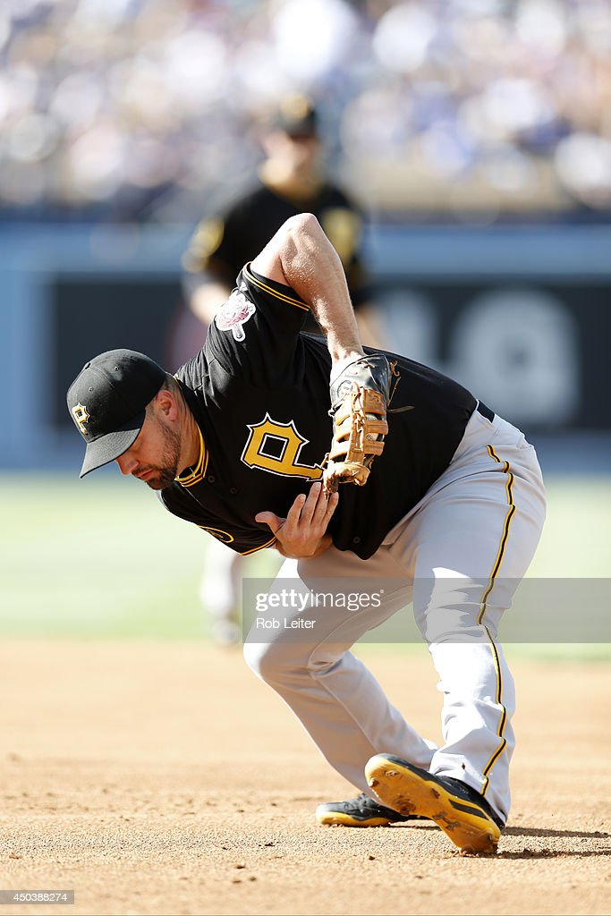 Gaby Sanchez of the Pittsburgh Pirates plays first base during the game against the Los Angeles Dodgers at Dodger Stadium on May 31 2014 in Los...