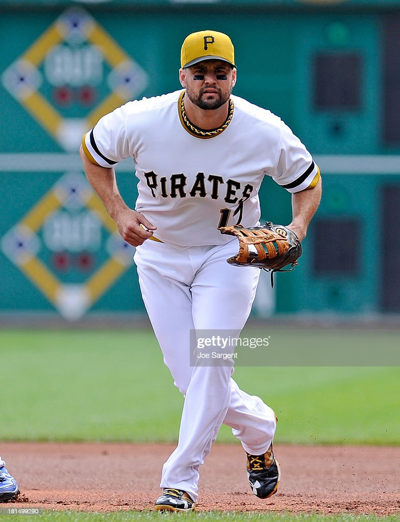 Gaby Sanchez of the Pittsburgh Pirates stands ready at first base during the game against the Chicago Cubs on September 15 2013 at PNC Park in...