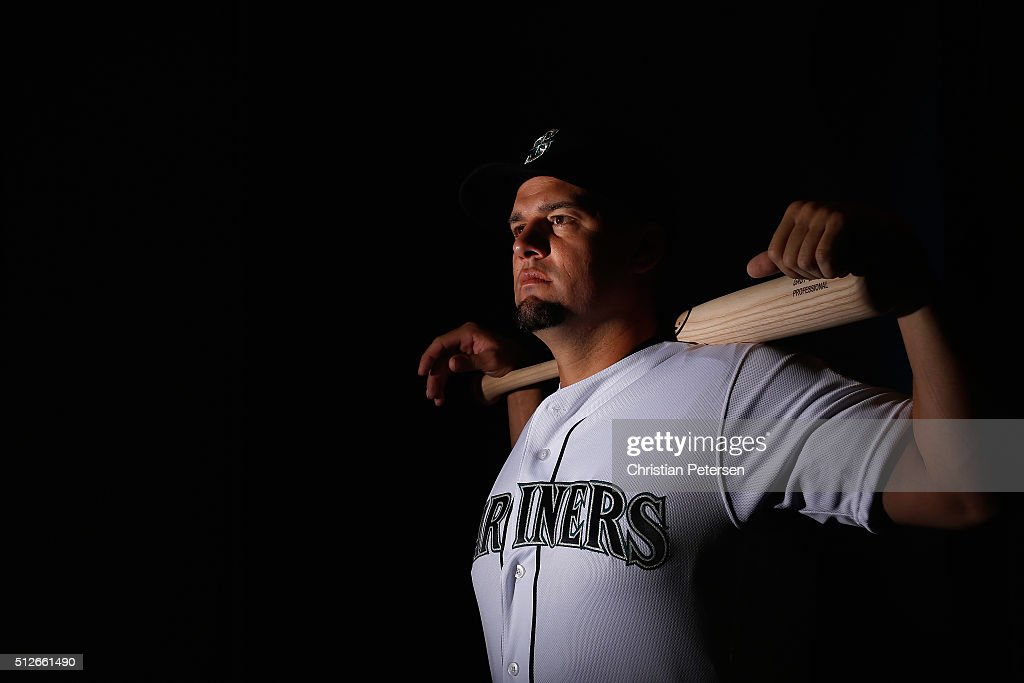 Gaby Sanchez of the Seattle Mariners poses for a portrait during spring training photo day at Peoria Stadium on February 27 2016 in Peoria Arizona